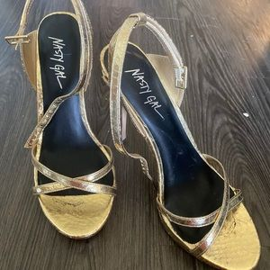 Nasty Gal Gold Strappy Heels